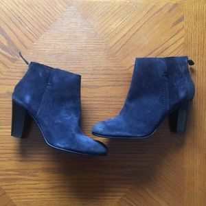 NIB DUNE Navy Suede Ankle Bootie